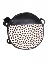 Bonny-Blue Crossbody Moon Original White Cheetah, front, voorkant, zwart, leer