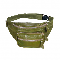 Bonny-Blue Moneybelt Billionaire Smooth Army Green front legergroen, groen, olijfgroen, leer